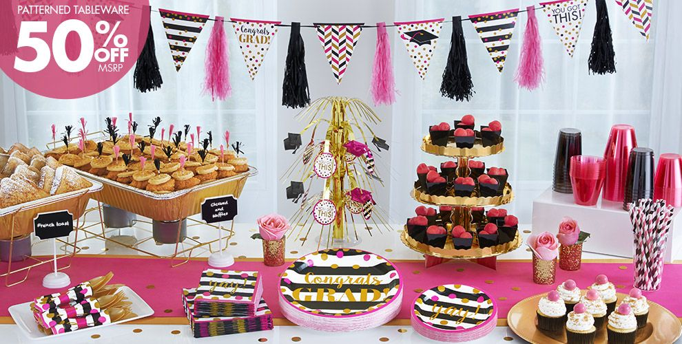 Patterned Tableware 50% off MSRP — Gold Confetti Grad Party Supplies