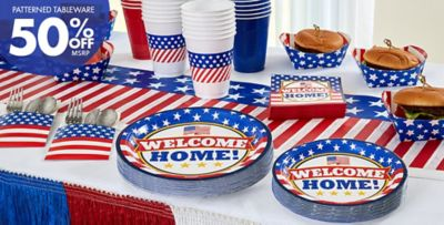 Welcome Home Party Supplies; Welcome Home Party Supplies u2014 Patterned Tableware 50% off ... & Welcome Home Party Supplies - Patriotic Military Party Supplies ...