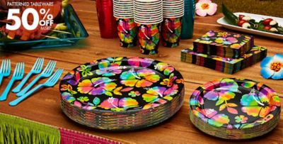 ... Patterned Tableware 50% off MSRP \u2014 Neon Hibiscus Party Supplies ... & Neon Hibiscus Party Supplies - Hawaiian Luau Party Theme | Party City