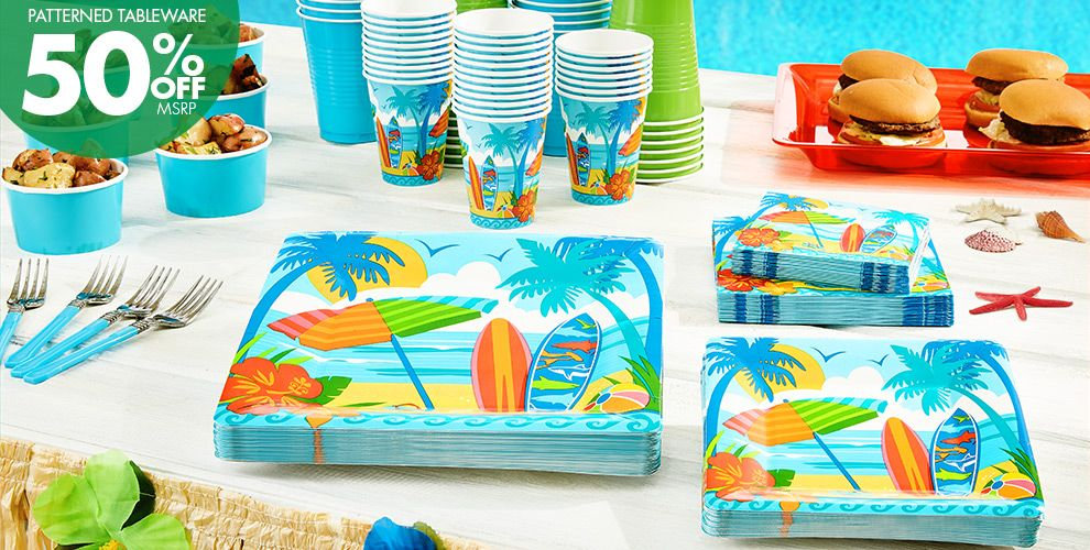 Patterned Tableware 50% off MSRP — Sun & Surf Beach Party Supplies