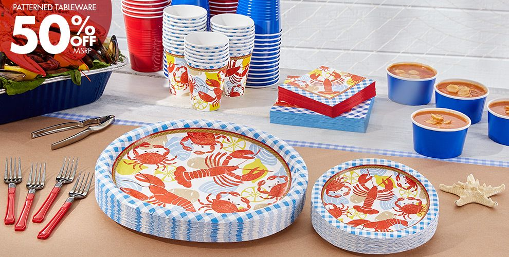 Patterned Tableware 50% off MSRP — Seafood Fest