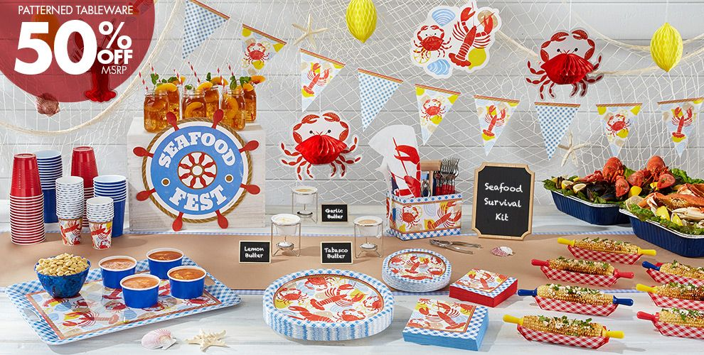 Seafood Fest Party Supplies 50% off Patterned Tableware MSRP
