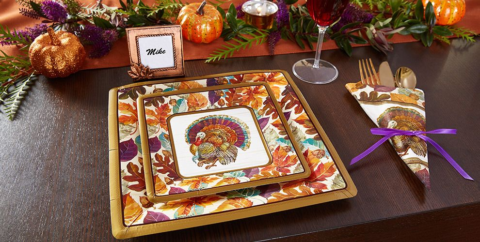 Traditional thanksgiving tableware fall party supplies