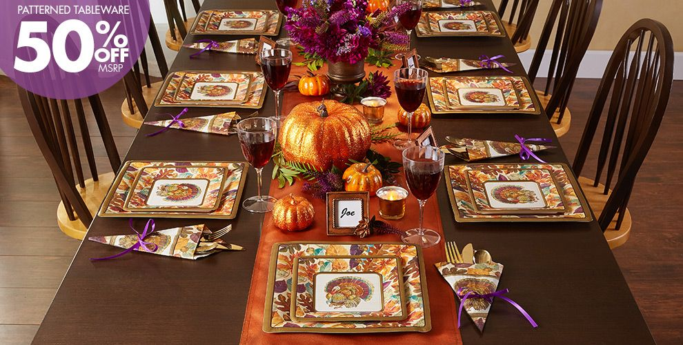 Patterned Tableware 50% off MSRP — Traditional Turkey Party Supplies