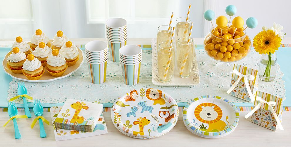 Patterned Tableware 50% off MSRP — Happy Jungle Baby Shower Party Supplies