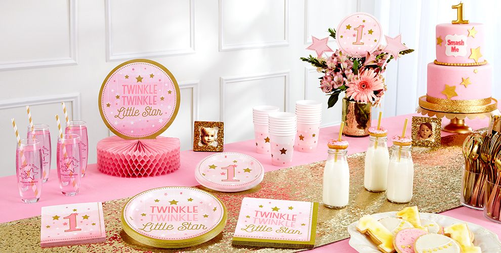 Pink Twinkle Twinkle Little Star 1st Birthday Party Supplies