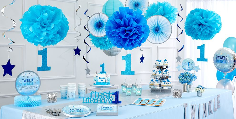 Blue Twinkle Twinkle Little Star 1st Birthday Party Supplies