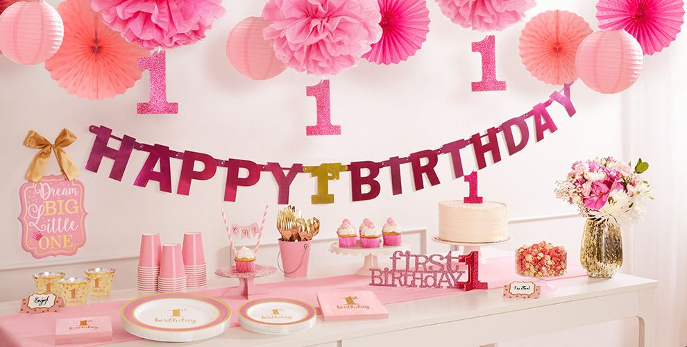 Pink & Gold Premium 1st Birthday Party Supplies