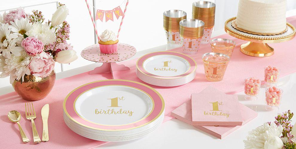 Pink & Gold Premium 1st Birthday Party Supplies