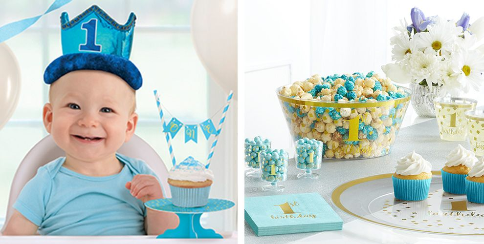 Blue & Gold Premium 1st Birthday Party Supplies