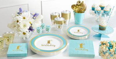 Blue Gold Premium 1st Birthday Party Supplies Blue Tableware