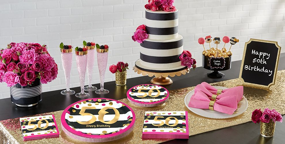 Pink and Gold 50th Birthday Party Supplies