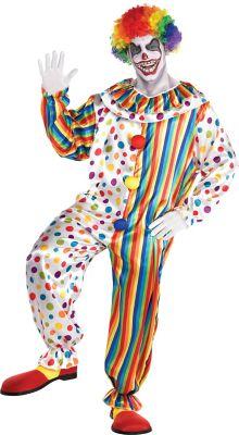 Adult Bubbles the Clown Costume Unisex  Jumpsuit Circus Adult Standard Size
