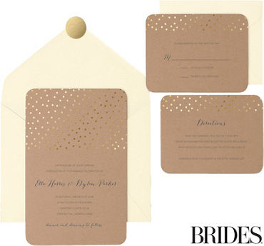 Printable wedding invitations invitation kits party city kraft metallic gold dot printable wedding invitations kit 30ct solutioingenieria