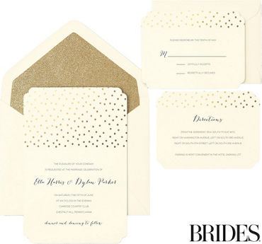 Printable wedding invitations invitation kits party city metallic gold dot scalloped printable wedding invitations kit 30ct stopboris Choice Image