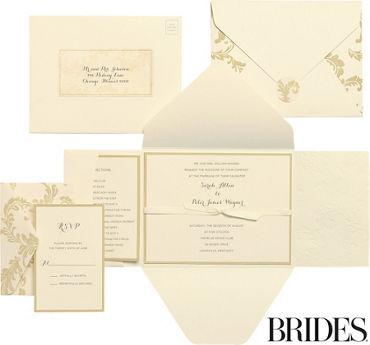 Gold Damask Printable Wedding Invitations Kit 30ct