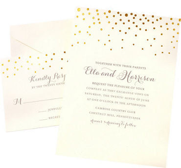 Printable wedding invitations invitation kits party city metallic gold dot printable wedding invitations kit 50ct stopboris