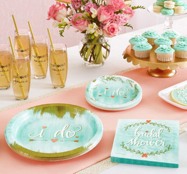 Wedding reception supplies wedding reception tableware party city mint to be bridal shower supplies junglespirit Choice Image