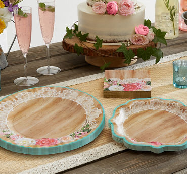 Wedding reception supplies wedding reception tableware party city floral lace rustic wedding party supplies junglespirit Choice Image