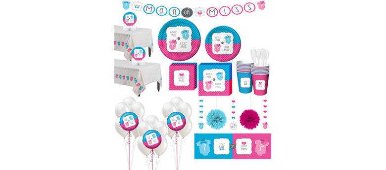 Little Man, Little Miss Premium Gender Reveal Party Kit for 32 Guests