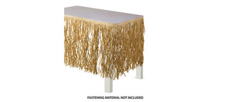 Raffia luau buffet table idea luau raffia decorating ideas luau natural raffia table skirt watchthetrailerfo