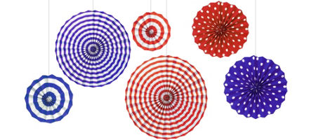 Patriotic Red White Blue Mini Fan Decorations 5ct Party City