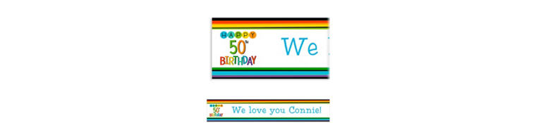 50th birthday decorations party city custom rainbow 50th birthday banner publicscrutiny Image collections