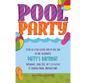 Custom pool party invitations thank you notes party city custom pool party invitations stopboris Images