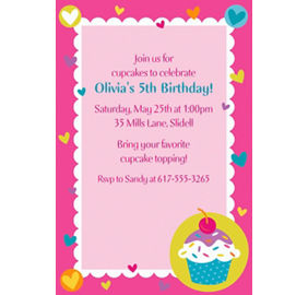 Cupcake party supplies cupcake birthday party party city custom cupcake party invitations filmwisefo Gallery
