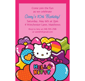 Hello kitty invitations party city custom hello kitty rainbow invitations stopboris Choice Image