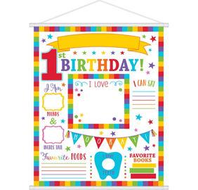 Elmo 1st birthday party supplies party city rainbow 1st birthday milestone sign stopboris Gallery