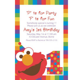 Custom elmo 1st birthday banners invitations thank you notes custom elmo 1st birthday invitation filmwisefo Image collections
