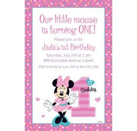 Custom minnies 1st birthday photo invitation minnie mouse 1st custom minnies 1st birthday invitation filmwisefo
