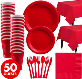 Red Plastic Tableware Kit for 50 Guests