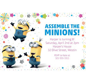 Despicable me minions party supplies minions birthday ideas custom despicable me 3 invitation stopboris Images