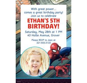 Spiderman party supplies spiderman birthday ideas party city custom webbed wonder spider man photo invitation stopboris Image collections