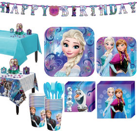 Frozen party supplies frozen birthday party ideas party city frozen tableware party kit for 16 guests stopboris Image collections