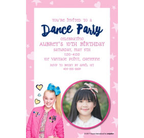 Custom jojo siwa invitations thank you notes banners party city custom jojo siwa photo invitation stopboris Images