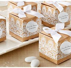 Wedding favor boxes wedding favor bags kits party city rustic lace favor boxes junglespirit Choice Image