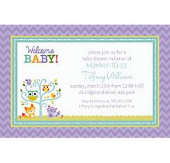 Custom gender neutral baby shower invitations party city custom woodland welcome invitations filmwisefo