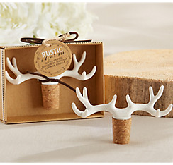 Wedding barware favors coasters bottle openers party city white antler wine stopper junglespirit Choice Image