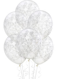 Wedding balloons balloon bouquets party city clear filigree balloons 6ct junglespirit Gallery