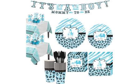 blue safari boy baby shower tableware kit 36 guests baby shower
