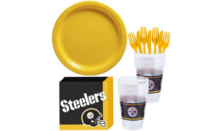 Nfl pittsburgh steelers party supplies party city pittsburgh steelers basic party kit for 18 guests filmwisefo Gallery