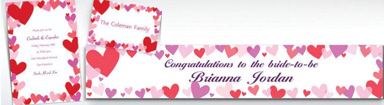 custom hearts valentines day invitations thank you notes