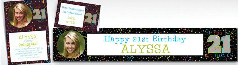 Custom 21st 25th birthday invitations custom milestone custom brilliant 21st birthday invitations thank you notes stopboris Gallery