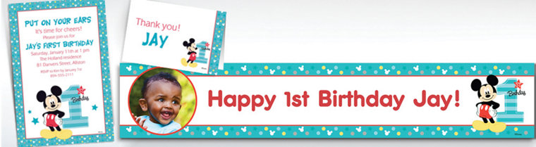 Custom 1st birthday invitations party city custom mickey mouse 1st birthday banners invitations thank you notes stopboris Images