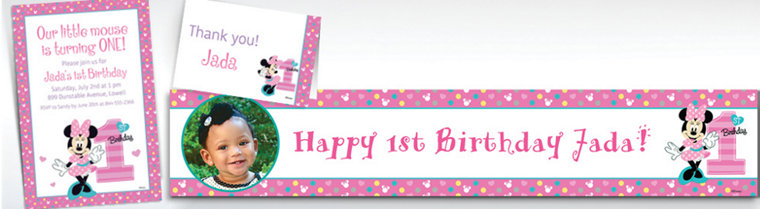 Custom 1st birthday invitations party city custom minnie mouse 1st birthday banners invitations thank you notes stopboris Images