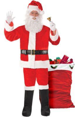 e4b5d65206 Adult Plush Red Santa Suit Costume Kit