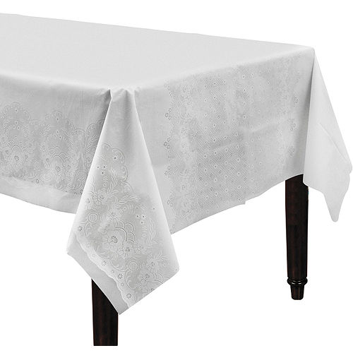 White Lace Print Table Cover